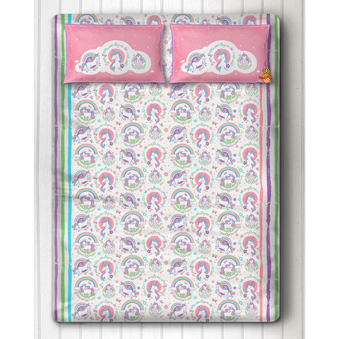 Unicorn Print Bedsheet With Two Pillow Covers For Double Bed