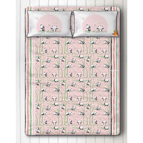 Playful Panda Print Pink Bedsheet With Two Pillow Covers For Double Bed