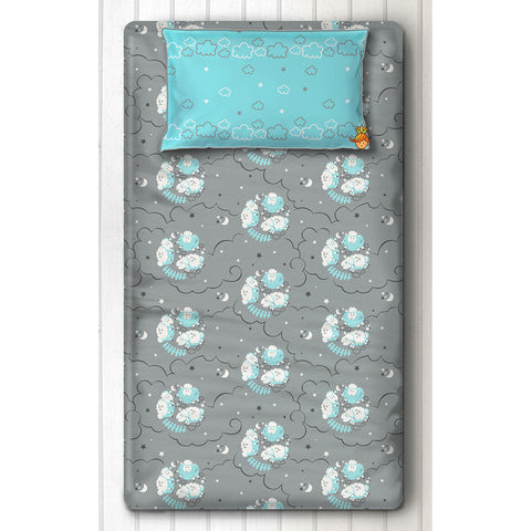 Blue Sheep Print Bedsheet With Pillow Cover For Single Bed