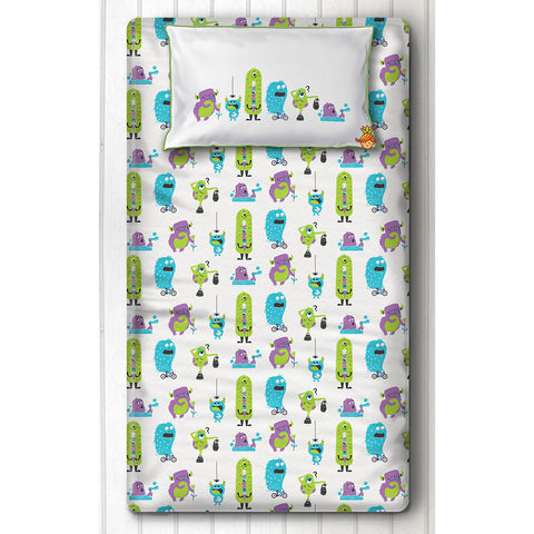 Green And Purple Monster Print Bedsheet With Pillow Cover For Single Bed