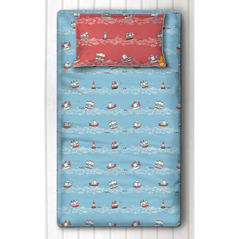 Blue Sea And Ship Print Bedsheet With Pillow Cover For Single Bed