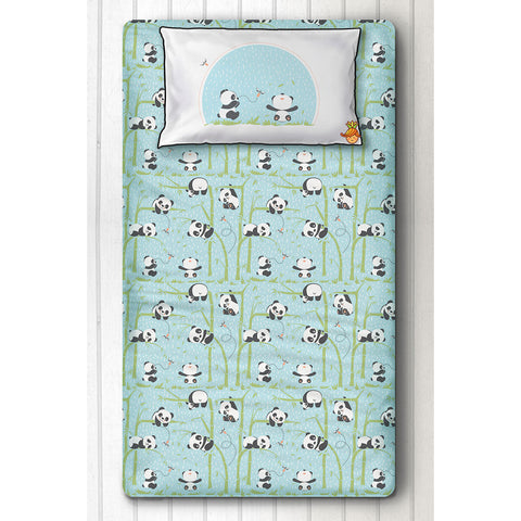 Panda Print Blue Bedsheet With Pillow Cover For Single Bed