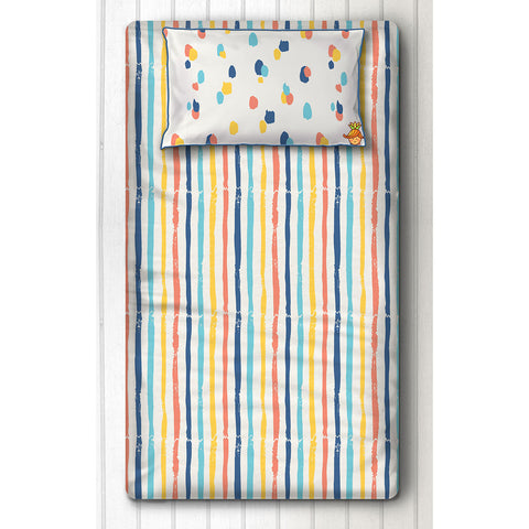 Multicolored Stripes And Bold Dots Print Bedsheet With Pillow Cover For Single Bed