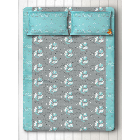 Blue Sheep Print Bedsheet With Two Pillow Covers For Double Bed