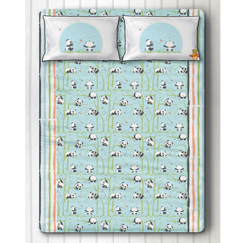 Playful Panda Print Blue Bedsheet With Two Pillow Covers Double Bed