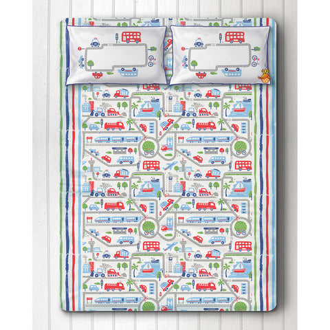 Transport Print Bedsheet With Two Pillow Covers For Double Bed