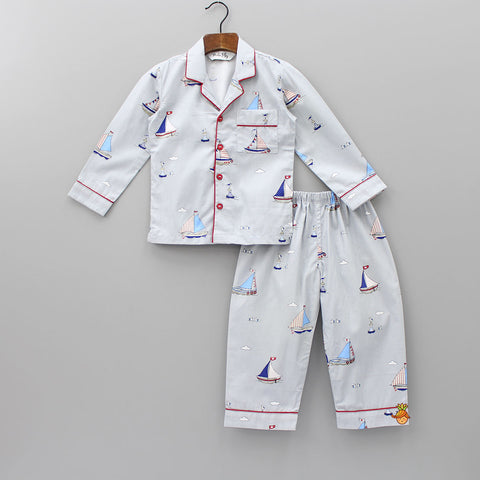 Grey Ship Print Sleepwear