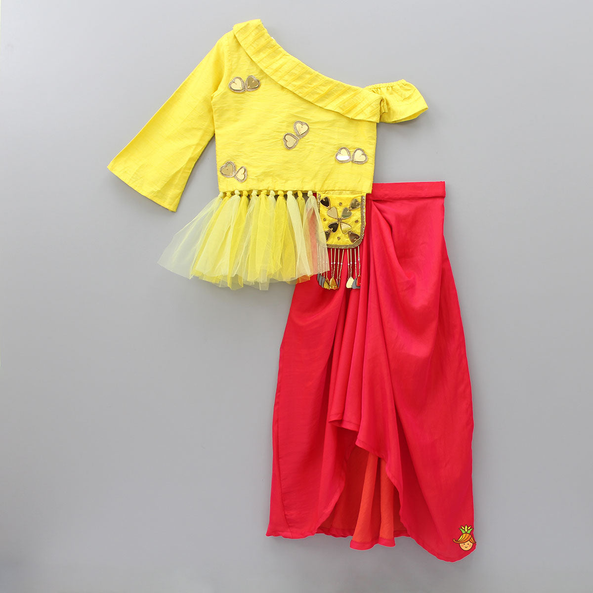 Pre Order: Yellow Knot Top With Dhoti Skirt