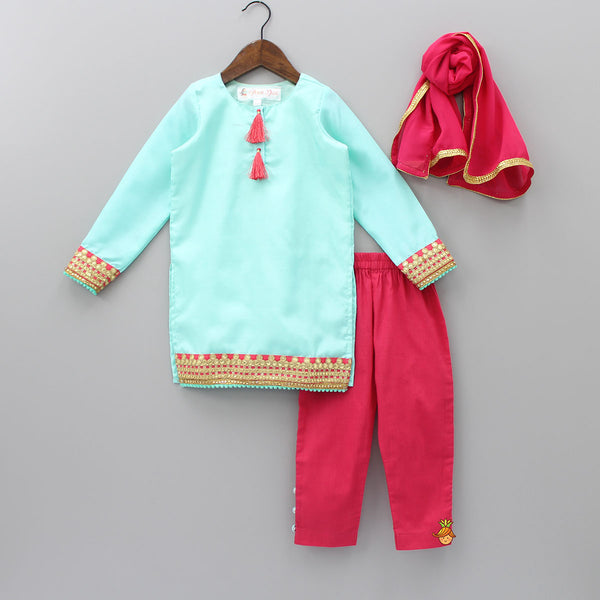 Aqua Blue Kurti With Pink Pant