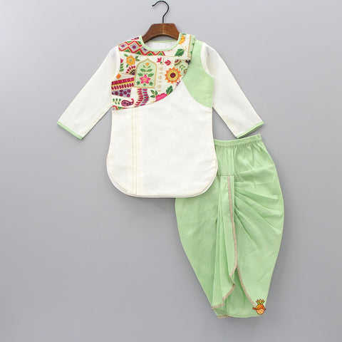 Pre Order: Off-White Multi Coloured Kurta With Green Dhoti