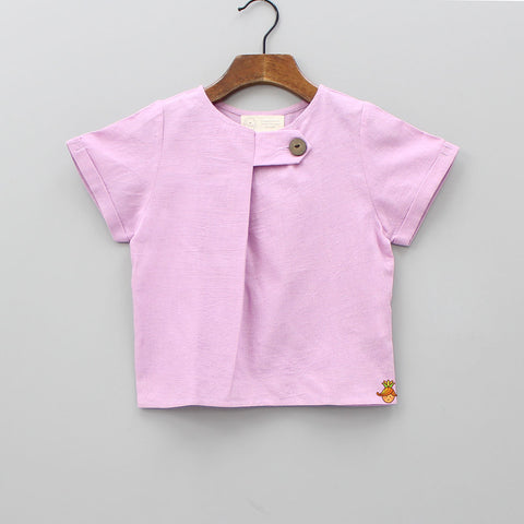 Lavender Top With Side Button