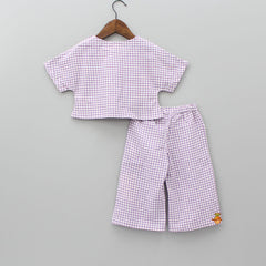 Lavender Checks Crop Top And Pant