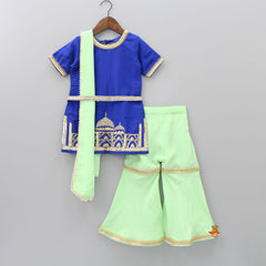 Pre Order: Navy Blue Kurti With Light Green Palazzo And Dupatta