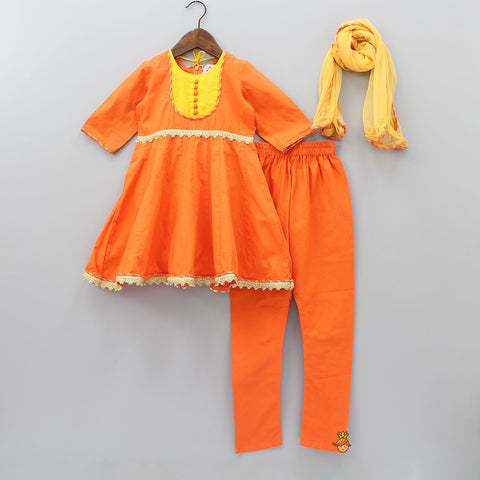 Pre Order: Orange Kurta And Churidar With Dupatta