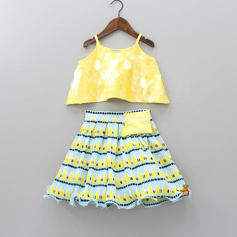 Pre Order: Yellow Soft Sequence Top With Pleated Skirt