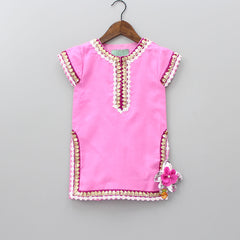 Pre Order: Pink Kurti With Printed Sharara