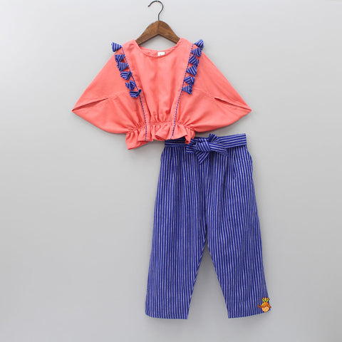 Pre Order: Peach Balloon Top With Stripped Trouser