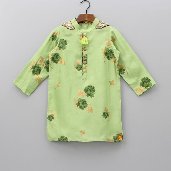 Pre Order: Floral Print Green Embroidered Kurta