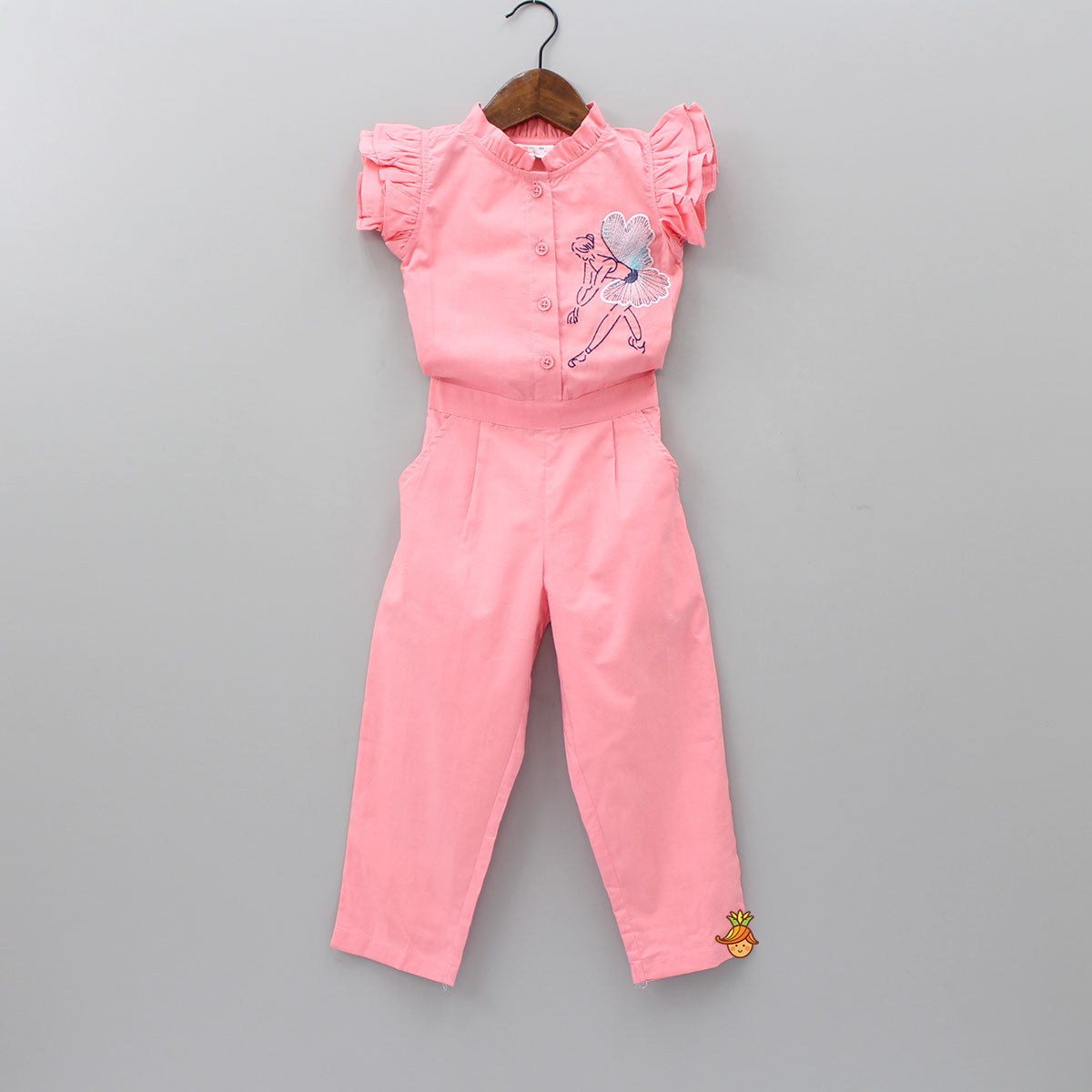 Pink Ballerina Embroidered Jumpsuit
