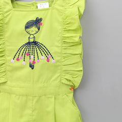 Ballerina Embroidered Lime Green Jumpsuit