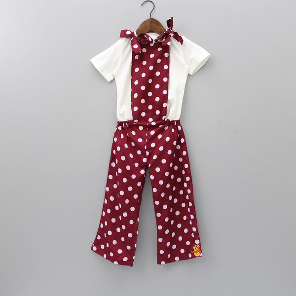 Maroon Polka Dungaree Set