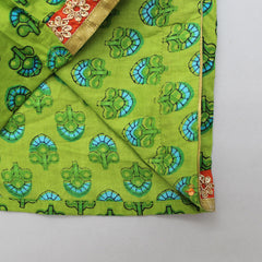 Green Printed Top With Orange Dhoti