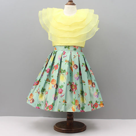 Pre Order: Yellow Crop Top With Light Green Floral Print Skirt