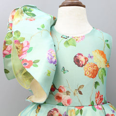 Pre Order: Floral Printed Gown With One-Side Sleeve