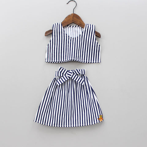 Pre Order: Stripped Crop Top And Skirt Set