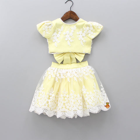 Pre Order: Arya Lemon Lace Skirt Set