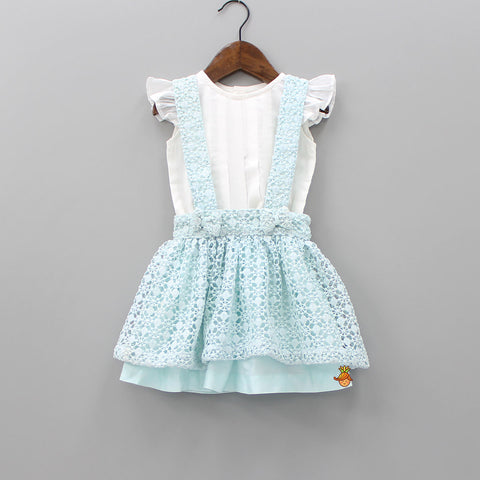 Pre Order: Blue Suspender With White Top