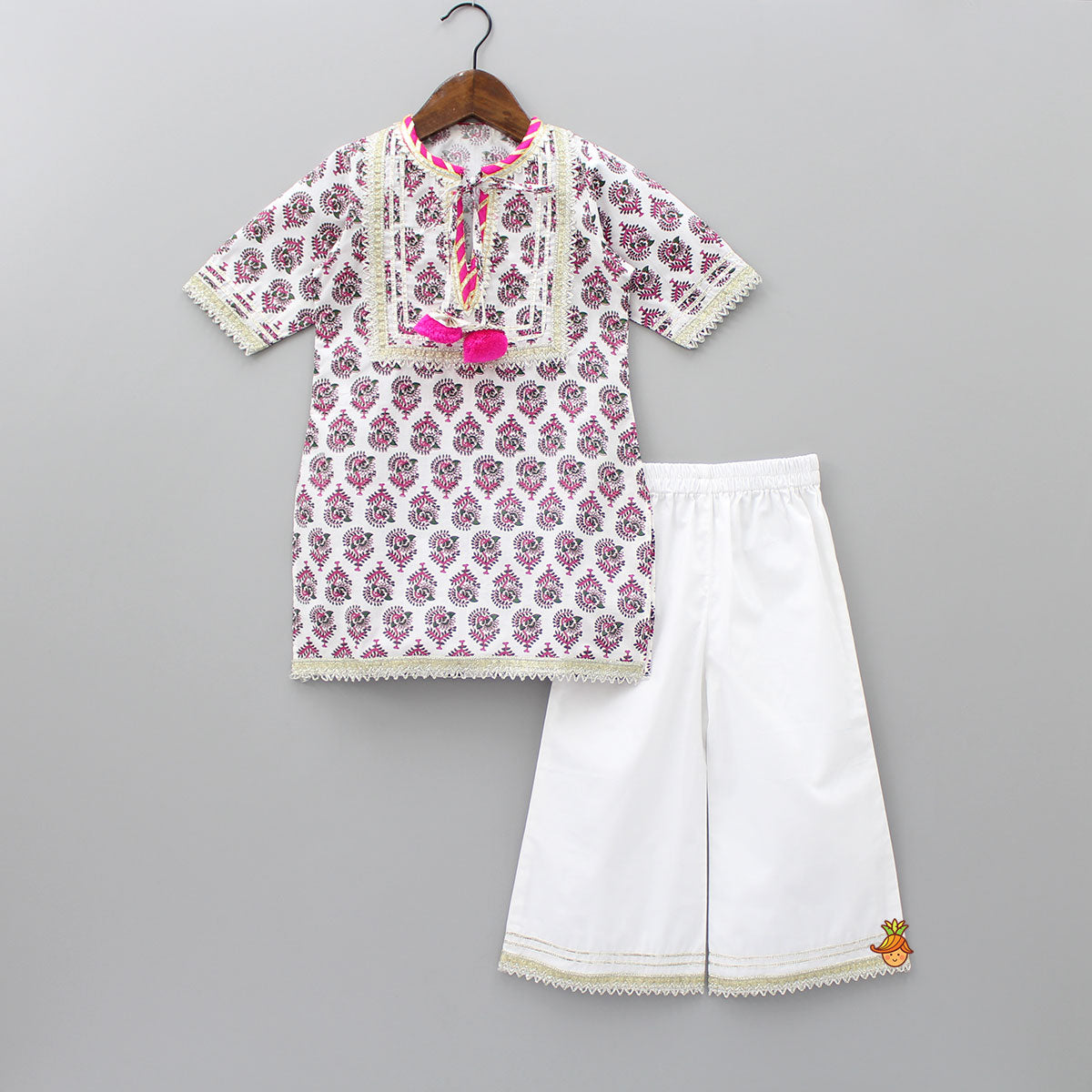 Pre Order: White Printed Kurta With White Palazzo