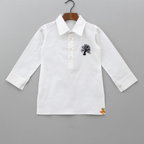 Pre Order: White Shirt Kurta With Embroidered Motif