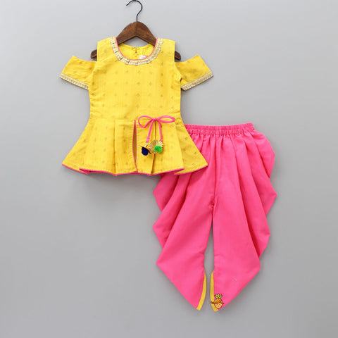 Yellow Cold-Shoulder Peplum Top And Pink Dhoti