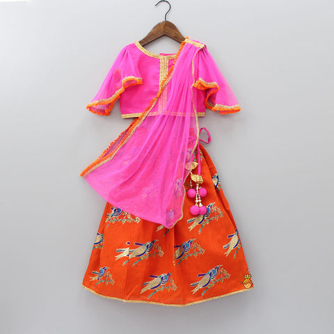 Pink Choli With Orange Bird Print Lehenga