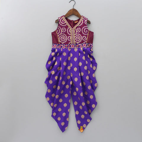 Embroidered Burgandy And Purple Dhoti Style Jumpsuit