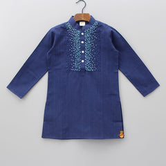 Navy Blue Kurta With Aqua Blue Patiala