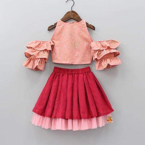 Pre Order: Salmon Pink Off-Shoulder Top With Skirt