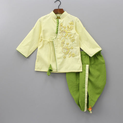 Pre Order: Light Yellow Embroidery Kurta With Green Dhoti
