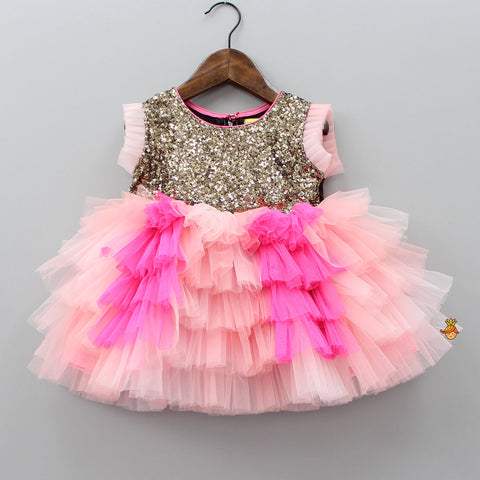 Pre Order: Pink Sequins And Ruffle Dress