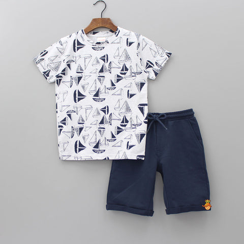 White Boat Print Tee With Navy Blue Shorts