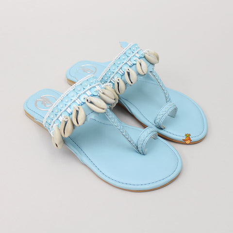 Light Blue Cowrie Shells Kolhapuri