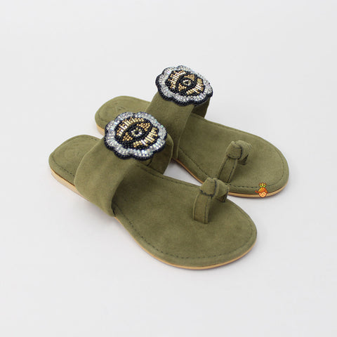 Olive Green Eye Thumb Flats