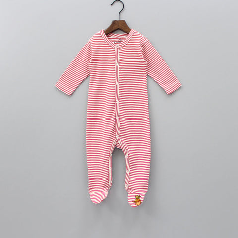 Organic Red stripe Bodysuit