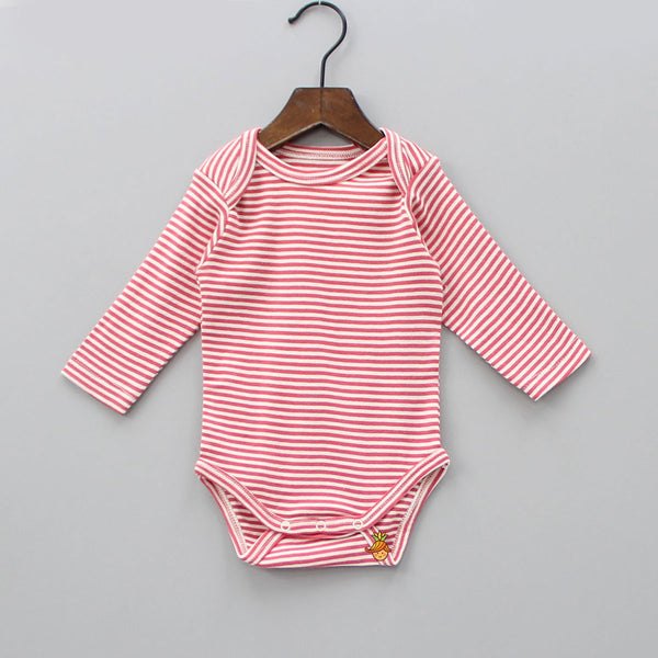 Organic Red Stripe Full Sleeves Bodysuit