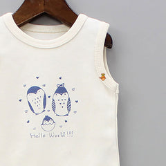 Organic Off White Penguin Print Bodysuit