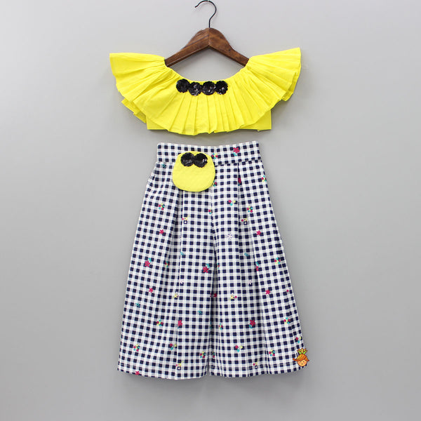 Pre Order: Yellow Crop Top And Checkered Palazzo Set