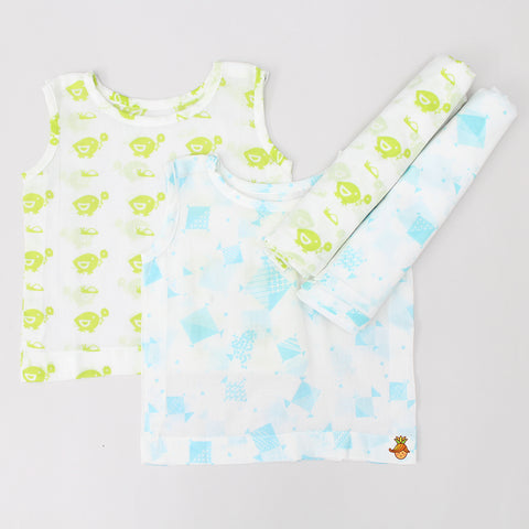 Green Bird And Blue Kites Jabla And Swaddle Set