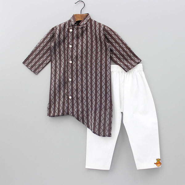 Brown Katha Kurta With White Pyjama
