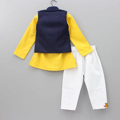 Yellow Kurta And White Pyjama With Navy Blue Waistcoat